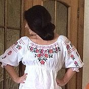"""Русский стиль handmade. Livemaster - original item Maiden shirt """"Hohlatka"""" linen with embroidery. Handmade."""