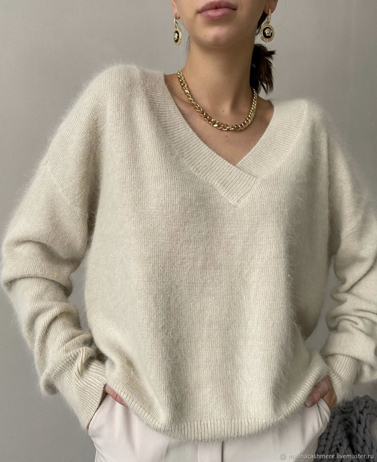 Angora jumper with V neck beige, Sweaters, Moscow,  Фото №1