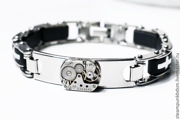 Стимпанк ручной работы. Ярмарка Мастеров - ручная работа. Купить Мужской браслет подарок мужчине мужу брату сыну шефу на Новый год. Handmade.