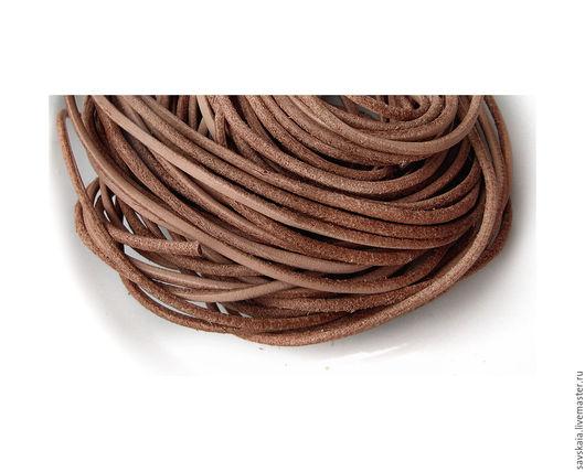 Шнур из натуральной кожи, светло-коричневый, 1.6 мм
