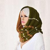 Аксессуары handmade. Livemaster - original item Scarf Snood cowl knitted in the style of women`s boho swamp, khaki, beige. Handmade.