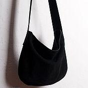 Сумки и аксессуары ручной работы. Ярмарка Мастеров - ручная работа Кожаная сумка-мешок из черного нубука. Handmade.