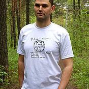 T-shirts handmade. Livemaster - original item Cool t-shirt Vitruvian Fox, white t-shirt with formulas. Handmade.