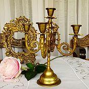 Vintage interior handmade. Livemaster - original item Vintage brass candelabra-candle holder, France. Handmade.