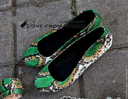 Обувь ручной работы. Ярмарка Мастеров - ручная работа. Купить Балетки (обувь) из натуральной кожи питона. Handmade. Разноцветный, зеленый
