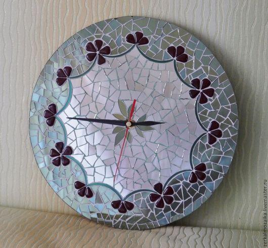 Часы для дома ручной работы. Ярмарка Мастеров - ручная работа. Купить Часы настенные.Мозаика из цветного зеркального стекла. Handmade.