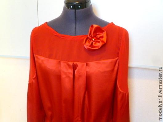 Блузки ручной работы. Ярмарка Мастеров - ручная работа. Купить Блузка  BLUSUN  44/46 48/50 итальянский шелк. Handmade. брошь