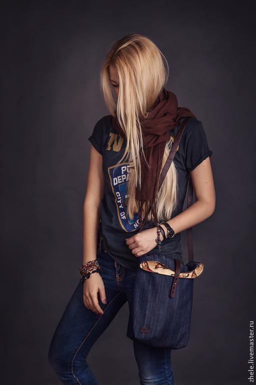 Женские сумки ручной работы. Ярмарка Мастеров - ручная работа. Купить Сумка текстильная с деталями из кожи. Handmade. Тёмно-синий