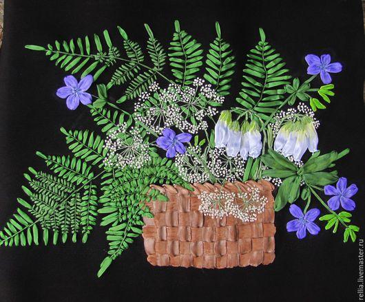 Картины цветов ручной работы. Ярмарка Мастеров - ручная работа. Купить Лесной букет. Handmade. Зеленый, картина лентами, герань