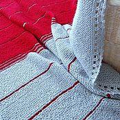 """Для дома и интерьера ручной работы. Ярмарка Мастеров - ручная работа Плед """"Согревающий красный"""" для взрослых и детей вязаный спицами. Handmade."""