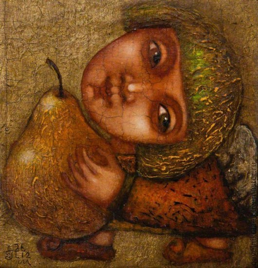 """Персональные подарки ручной работы. Ярмарка Мастеров - ручная работа. Купить """"Ангел с грушей 2"""", авторская печать. Handmade. Оранжевый"""
