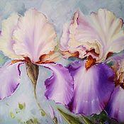 Картины и панно handmade. Livemaster - original item Oil painting with irises Summer Hello. Handmade.