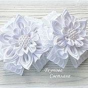 Украшения handmade. Livemaster - original item Elastic bands for hair White snow made of satin ribbon. Handmade.