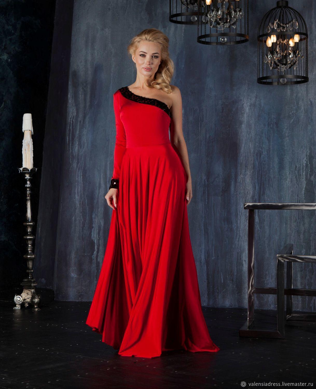 Evening dress one shoulder red floor-length dress, Dresses, St. Petersburg,  Фото №1