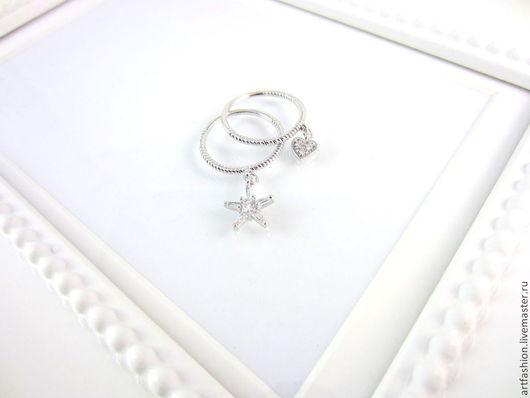 Кольцо от Марии Гербст  Ледяное созвездие. Кольцо авторское серебряное `Ледяное созвездие` с подвесками. Кольцо серебряное двойное с камнем `Ледяное созвездие`
