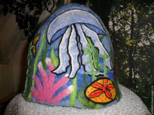"""Банные принадлежности ручной работы. Ярмарка Мастеров - ручная работа. Купить Банная шапка """"Сны дайвера"""". Handmade. Синий, кораллы"""
