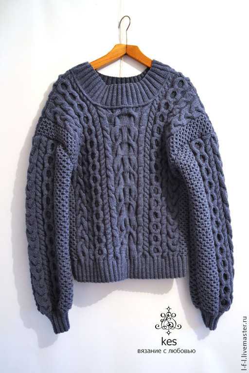 """Кофты и свитера ручной работы. Ярмарка Мастеров - ручная работа. Купить Вязаный свитер """"Касмея"""". Handmade. Синий, рубан"""