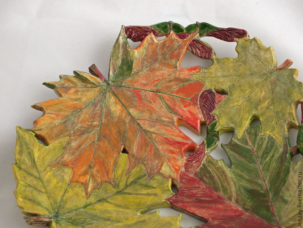 Plate `Autumn maple`. diameter 24 cm. Openwork ceramics Elena Zaichenko
