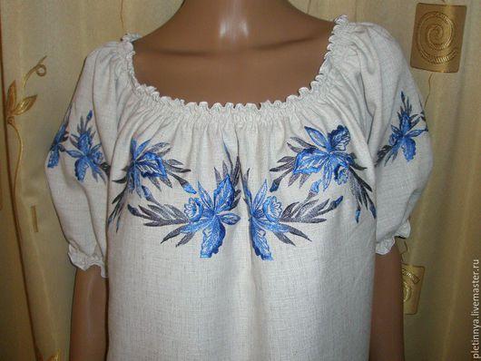 """Этническая одежда ручной работы. Ярмарка Мастеров - ручная работа. Купить блузка """" орхидея"""". Handmade. Комбинированный, льняная ткань"""