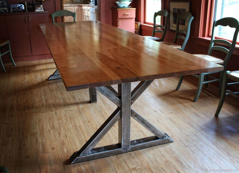 Большой стол в стиле лофт Массив дерева купить в