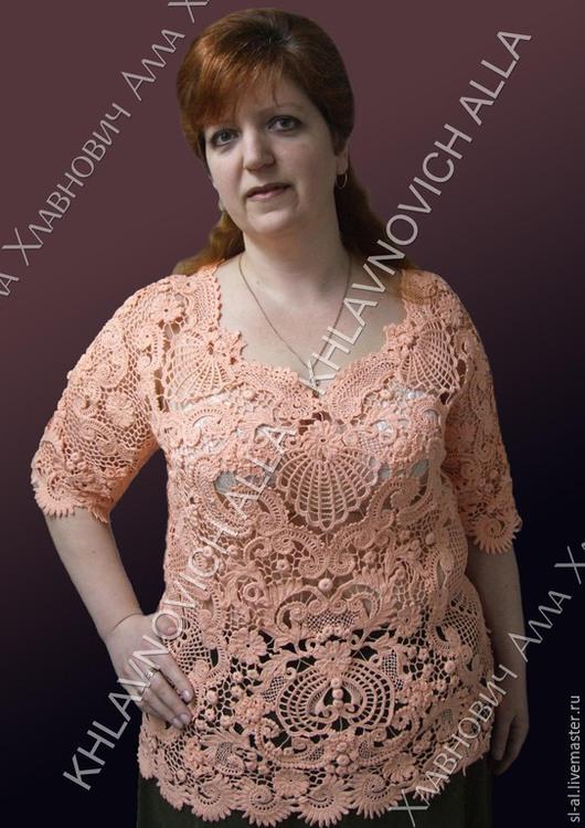 """Блузки ручной работы. Ярмарка Мастеров - ручная работа. Купить Блуза """"Персиковое суфле"""" Модель №729. Handmade. Блуза из хлопка"""