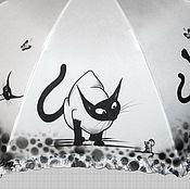 Аксессуары ручной работы. Ярмарка Мастеров - ручная работа Расписной зонт с котиками. Handmade.