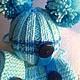 """Одежда для кукол ручной работы. Заказать Одежда для кукол. Комплект шапочка, шарф и сумочка """"Голубое небо"""". NK313. Ярмарка Мастеров."""