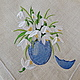 Easter napkin with embroidered `Snowdrops` `Sulkin house` embroidery workshop