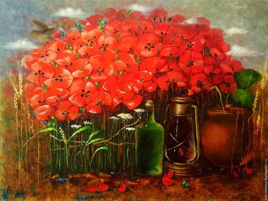 Картины цветов ручной работы. Ярмарка Мастеров - ручная работа. Купить Картина маслом на холсте пейзаж с маками Летний вечер 60х80. Handmade.