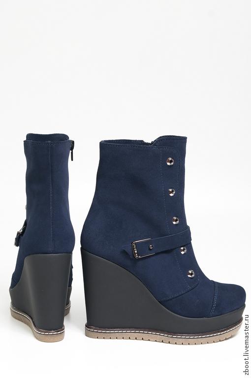 Обувь ручной работы. Ярмарка Мастеров - ручная работа. Купить Ботинки Frost. Handmade. Тёмно-синий, натуральная замша