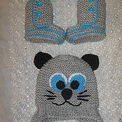 """Работы для детей, ручной работы. Ярмарка Мастеров - ручная работа Шапочка на выписку """"Котик"""" и пинетки. Handmade."""