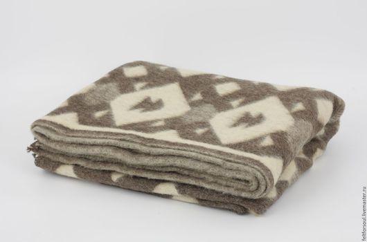 Текстиль, ковры ручной работы. Ярмарка Мастеров - ручная работа. Купить Одеяло Елочка 100% овечья и верблюжья шерсть. Handmade.