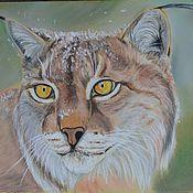 Картины и панно ручной работы. Ярмарка Мастеров - ручная работа желтоглазая рысь.  (кошка, пастель). Handmade.