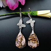 Украшения handmade. Livemaster - original item Large silver earrings with rhodonite