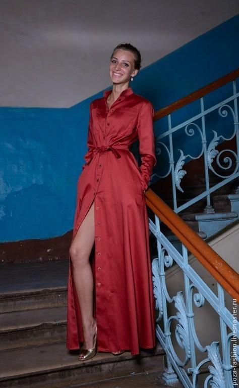 """Платья ручной работы. Ярмарка Мастеров - ручная работа. Купить Платье """"Рубашка"""". Handmade. Рыжий, длинное платье, нарядное платье"""