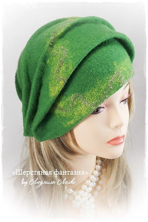"""Шляпы ручной работы. Ярмарка Мастеров - ручная работа. Купить Шляпка """"Эльфийский лес"""". Handmade. Зеленый, дамская шляпка"""
