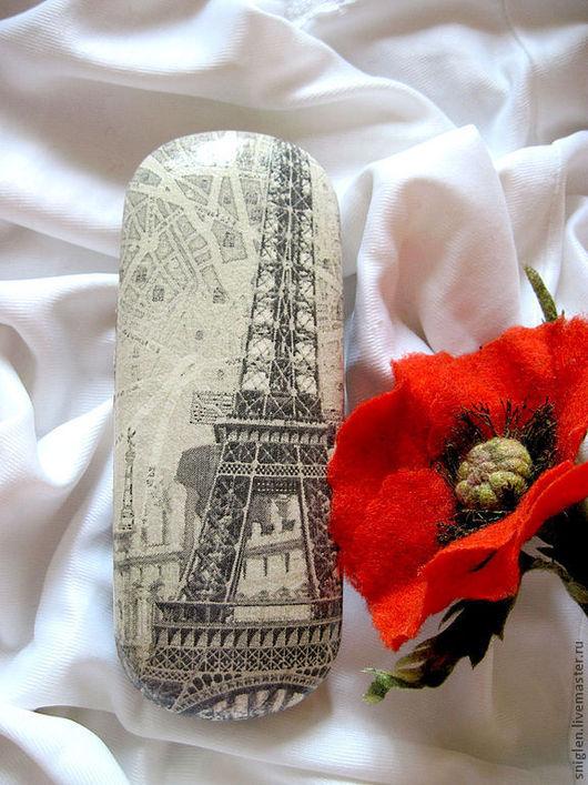 """Очки ручной работы. Ярмарка Мастеров - ручная работа. Купить футляр для очков """"Увидеть Париж..."""". Handmade. Чёрно-белый"""