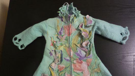 """Одежда для девочек, ручной работы. Ярмарка Мастеров - ручная работа. Купить """" валяное детское пальтоТеплый ветерок"""". Handmade. Мятный"""