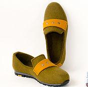 """Обувь ручной работы. Ярмарка Мастеров - ручная работа Туфли женские, лоферы """"Olivinite"""". Handmade."""