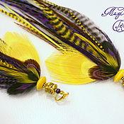 Украшения handmade. Livemaster - original item Bright yellow-purple earrings with peacock feathers. Handmade.