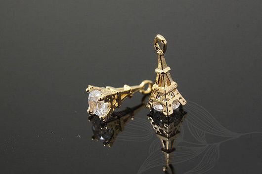 Подвеска Эйфелева Башня, позолота + фианит, 4 * 11 мм. Южная Корея
