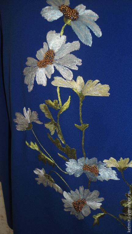 Блузки ручной работы. Ярмарка Мастеров - ручная работа. Купить вышитая шелком блузка. Handmade. Синий