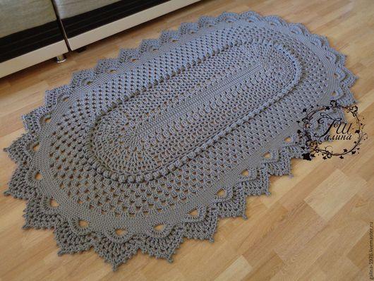 """Текстиль, ковры ручной работы. Ярмарка Мастеров - ручная работа. Купить Вязаный ковер """"Феерия"""". Handmade. Серый, салфетка, большой"""