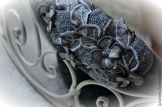 """Береты ручной работы. Ярмарка Мастеров - ручная работа. Купить Берет """"Дыша духами"""". Handmade. Серый, незнакомка, бисер"""