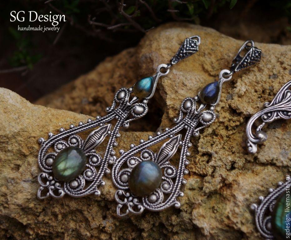 Demetria silver earrings Labradorite 925 silver, Earrings, Yalta,  Фото №1