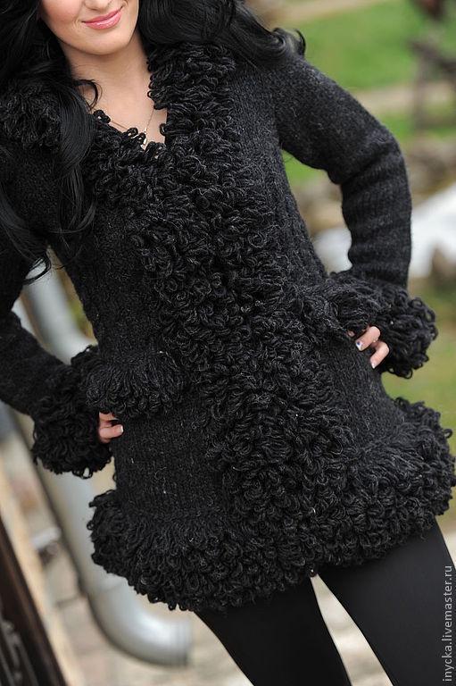 Верхняя одежда ручной работы. Ярмарка Мастеров - ручная работа. Купить Пальто вязаное WK3. Handmade. Черный, имитация меха
