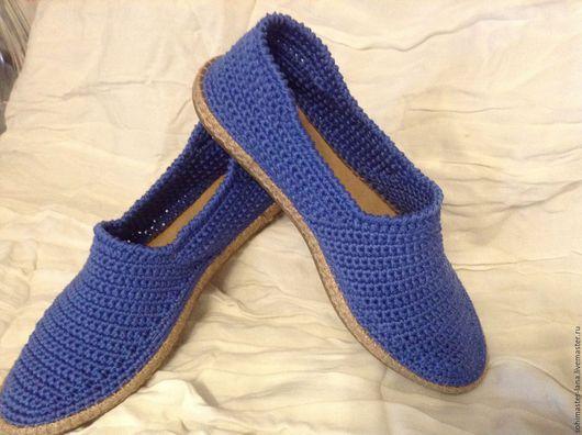 """Обувь ручной работы. Ярмарка Мастеров - ручная работа. Купить Слиперы""""Не шагу назад"""". Handmade. Тёмно-синий, хлопок"""