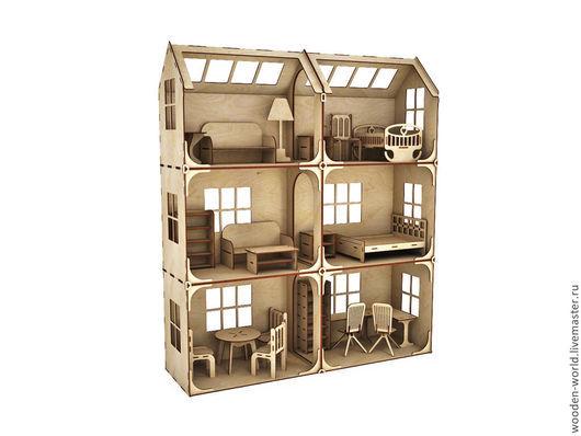 Декупаж и роспись ручной работы. Ярмарка Мастеров - ручная работа. Купить Модульный Кукольный домик 3 этажа 6 комнат (без мебели). Handmade.