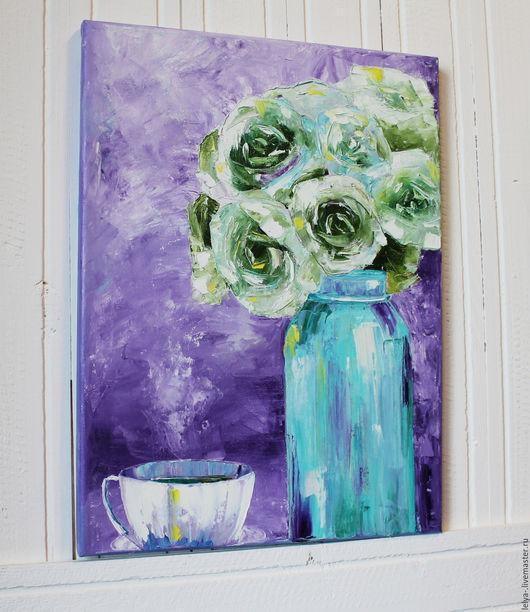 Картины цветов ручной работы. Ярмарка Мастеров - ручная работа. Купить Картина маслом Чайные розы. Handmade. Фиолетовый