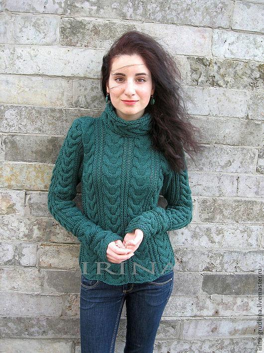 Кофты и свитера ручной работы. Ярмарка Мастеров - ручная работа. Купить Изумрудный свитер. Handmade. Тёмно-зелёный, вязание на заказ